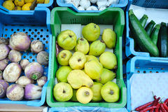 Quinces at the market stall Stock Image