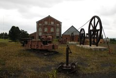 Quincy Hoist House. Equipment and building that housed one of the largest steam hoists ever made stock photo