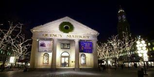 Quincy Market au temps de Noël Photographie stock libre de droits