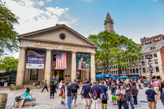 Quincy Market in Boston. BOSTON - JMay 20: People visit famous Quincy Market on May 20, 2014 in Boston. Quincy Market dates back to 1825 and is a major tourism Royalty Free Stock Photography