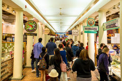 Quincy Market in Boston. BOSTON - JMay 20: People visit famous Quincy Market on May 20, 2014 in Boston. Quincy Market dates back to 1825 and is a major tourism Royalty Free Stock Images