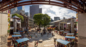 Quincy Market. Panoramic view of the historic architecture of Quincy Market in Boston, Massachusetts, USA Royalty Free Stock Photography