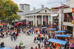 Quincy market with people shopping stock photo