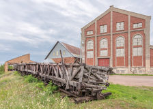 Quincy Mine Ore Cars, Hoist House, Keweenaw National Historical. Wooden ore cars in front of the Quincy Mine Hoist House, Keweenaw National Historical Park stock image