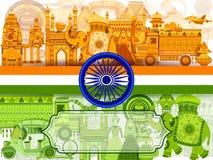 quindicesimo August Independence del fondo tricolore dell'India royalty illustrazione gratis