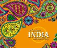 quindicesimo di August India Independence Day Cartolina d'auguri con l'ornamento di Paisley Fotografie Stock Libere da Diritti