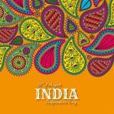 quindicesimo di August India Independence Day Cartolina d'auguri con l'ornamento di Paisley Immagini Stock