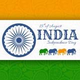 quindicesimo di August India Independence Day Cartolina d'auguri con l'ornamento di Paisley Fotografie Stock