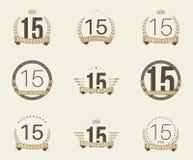 Quindici anni di anniversario di logotype di celebrazione quindicesima raccolta di logo di anniversario illustrazione di stock