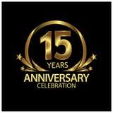 Quindici anni di anniversario dorato progettazione del modello di anniversario per il web, gioco, manifesto creativo, libretto, o illustrazione di stock