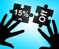 Quindici per cento fuori rappresentano il promo e l'offerta di vendite illustrazione vettoriale