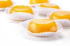 Quindim, sobremesa saboroso feita com ovos fotografia de stock royalty free