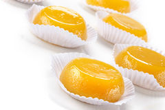 Quindim, tasty dessert made with eggs. Dessert made with egg and coconut Stock Photos