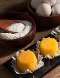 Quindim, tasty dessert made with eggs. Dessert made with egg and coconut Stock Photo