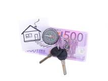 Quinientos euro y la casa de imagen Foto de archivo libre de regalías