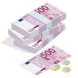 Quinientos monedas del billete de banco del euro una euro y en un fondo blanco Concepto isométrico del ejemplo del vector plano 3 Imagen de archivo