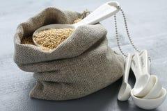 Quinoa adra w małym burlap worku i porcelan pomiarowych łyżkach Zdjęcia Royalty Free