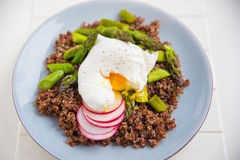Quinoa with asparagus and poached egg. Healthy Quinoa with asparagus and poached egg Royalty Free Stock Image