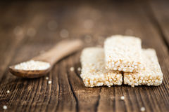 Quinoa Bars. Fresh made Quinoa Bars selective focus; close-up shot on an old wooden table Royalty Free Stock Image