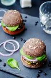Quinoa black bean spinach corn burgers with black beans bun crus. T. toning. selective Focus Stock Photography