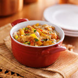 Quinoa casserole. With corn, bell peppers and ground turkey royalty free stock photography