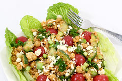 Quinoa and chickpea salad. Healthy quinoa chickpea lettuce salad Royalty Free Stock Image