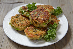 Quinoa fritters with kale and cheddar Royalty Free Stock Image