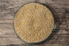 Quinoa in glass dish on wooden background. Royalty Free Stock Images