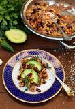 Quinoa gotujący w meksykanina stylu fotografia stock