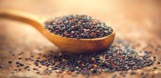 Quinoa Grões pretas em uma colher de madeira Conceito de dieta Sementes do quinoa preto - chenopodium - quinoa fotos de stock