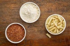 Quinoa grain, flour and pasta Royalty Free Stock Photography