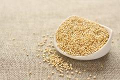 Quinoa grain in white ceramic bowl on sackcloth background Stock Photos