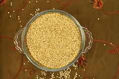 Quinoa on green  tablecloth Royalty Free Stock Images