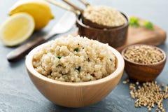 Quinoa herbed par citron dans une cuvette image stock