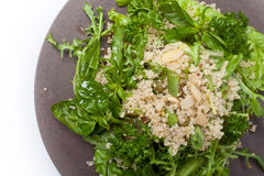 Quinoa mixed salad. Fresh healthy quinoa salad with green leaves, basil, parsley, green beans Stock Images