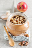 Quinoa porridge with apples and walnuts. Quinoa porridge with apples, walnuts, cinnamon and milk in a pot Royalty Free Stock Photos