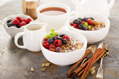 Quinoa porridge with raspberry and blueberry stock photos
