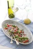 Quinoa salad. Quinoa, green been and red pepper salad stock photo