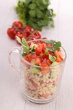 Quinoa salad. Quinoa with tomato and cucumber Royalty Free Stock Photography