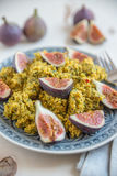 Quinoa salad with herbs and fresh figs. Healthy quinoa salad with herbs and fresh figs Royalty Free Stock Images