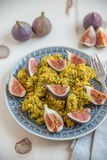 Quinoa salad with herbs and fresh figs. Healthy quinoa salad with herbs and fresh figs Stock Images