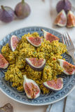 Quinoa salad with herbs and fresh figs. Healthy quinoa salad with herbs and fresh figs Stock Photography