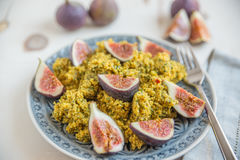 Quinoa salad with herbs and fresh figs Stock Photos