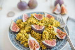 Quinoa salad with herbs and fresh figs Royalty Free Stock Images