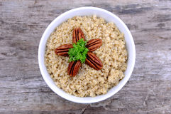Quinoa salad with pecans royalty free stock photo