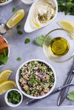 Quinoa salad. Sprouted quinoa salad served with hummus and olive oil Stock Photos