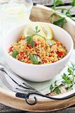 Quinoa salad with vegetables,herbs and lemon. Royalty Free Stock Photos