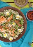 Quinoa ,salmon and qwail eggs Royalty Free Stock Images
