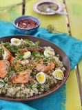 Quinoa ,salmon and qwail eggs Royalty Free Stock Photography