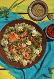 Quinoa ,salmon and qwail eggs Royalty Free Stock Photo